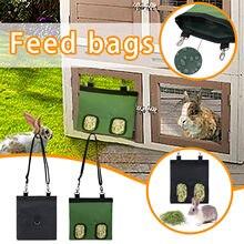 Yeni Pet Ay çantası asılı kese besleyici tavşan dört delikli besleme çantası Pet Thatched çanta besleme çantası dağıtıcı konteyner tavşan