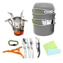 цена на Outdoor Camping Hiking Tableware Aluminium Alloy Cookware  Utensils Cooking Picnic Traveling Bowl Pot Pan Set for 1-2 Person