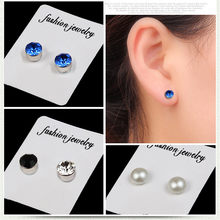 1pair Magnet Colorful Diamond Stud Earring Slimming Weight Loss Anti Cellulite for Men Women Health Care Iron Ear Nail Jewelry(China)
