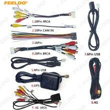 Feeldo conjunto de cabeçote de carro, unidade de cabeça de carro kits de fio estéreo compatível com xy auto android, interface rca, áudio e vídeo cabo de cabo