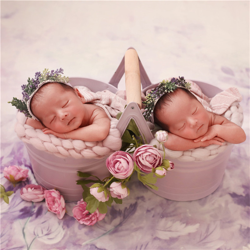 Baby Photograph Props Iron Barrel For Twins Posing Basket Props For Photo Shoot Infant Girls Studio Newborn Photo Accessories
