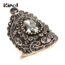 Kinel de lujo étnicos novia anillo de boda Color oro antiguo de piedra de circón grande anillos para mujer gris de flores de cristal de la joyería de Boho