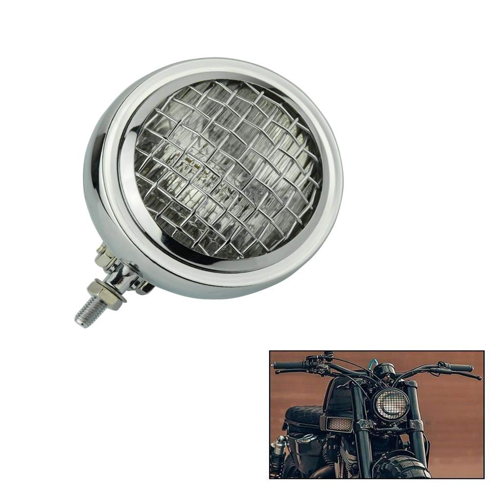 Motorcycle 4.5 Inch H4 Retro Headlight with Grill Head Lamp for Harley Honda Bobber Chopper Touring Motorcycle Bottom Mount Vint   - title=