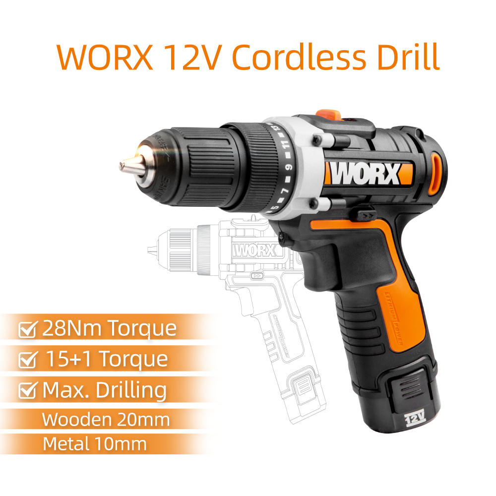 Tools 12V Rechargeable Drill Cordless Electric WX128 1 Drill Screwdriver Wireless Household Mini Worx Driver Power Hand Electric