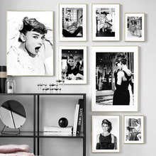 Blanco y negro de Hollywood película star Vintage arte de pared de pintura de la lona carteles nórdicos y huellas de pared para sala de decoración