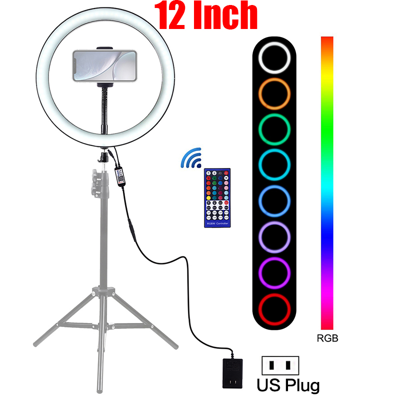 12 Inch LED Selfie Ring Light Photography Dimmable RGB LED Ring Lamp Youtube Video Photo Studio Light With Phone Holder & Remote image