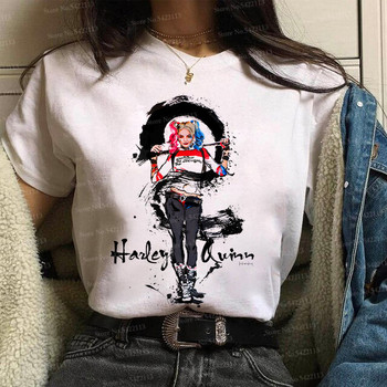 Funny Suicide Squad Joker Harley Quinn Graffiti t shirt women Casual Hipster Streetwear T shirt Halloween Skull Top Tees  female недорого