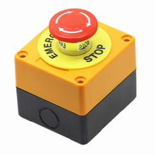 1PCS Plastic Shell Red Sign Push Button Switch DPST Mushroom Emergency Stop Button AC 660V 10A NO+NC LAY37 11ZS