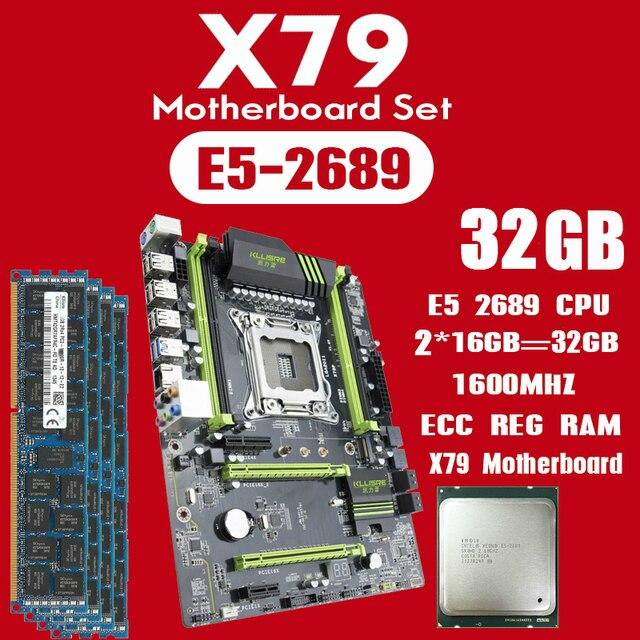 Płyta główna Kllisre X79 z Xeon E5 2689 2x16GB = 32GB 1600MHz pamięć DDR3 16GB ECC REG ATX USB3.0 SATA3 PCI E NVME M.2 SSD