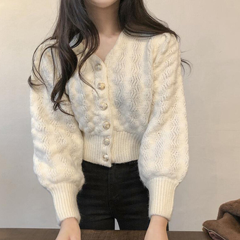 white cropped women winter sweater