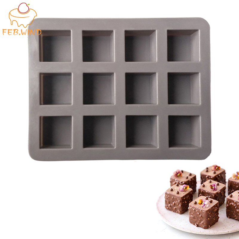 12 Cavities Mini Silicone Brownie Mold for Oven Silicone Chocolate Molds Ice Cube Tray Jelly Soap Maker Silikone Cake Mould 343(China)