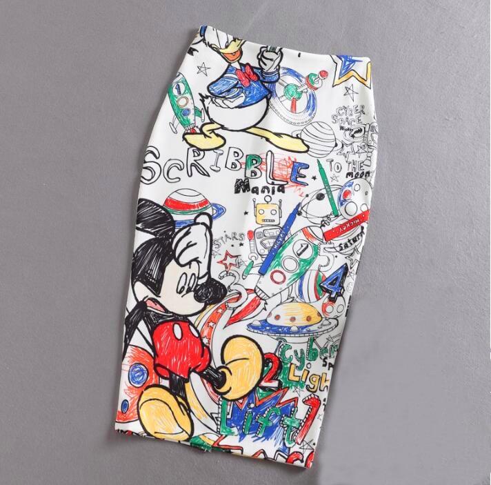 Women's Pencil Skirt 2019 New Cartoon Mouse Print High Waist Slim Skirts Young Girl Summer Large Size Japan Female Falda