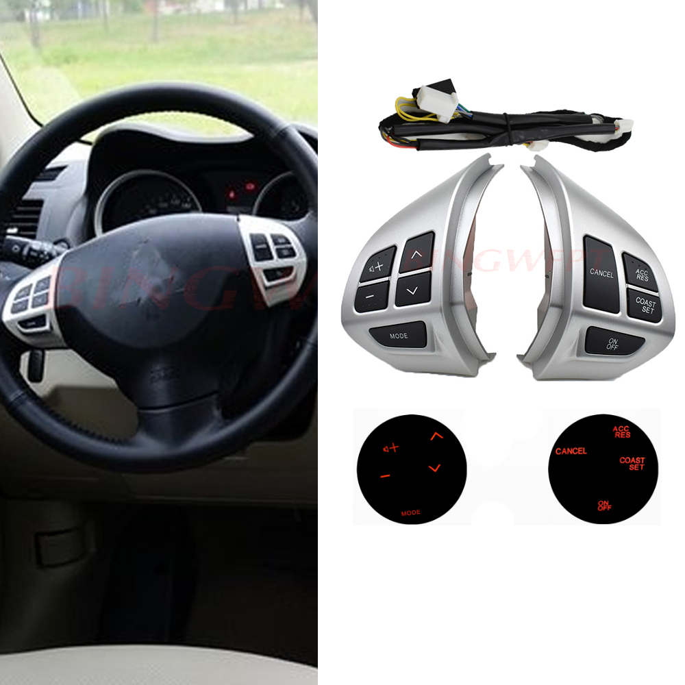 For Mitsubishi ASX 2007-2012 Outlander Steering wheel control buttons with cables silver buttons / image