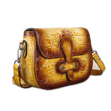small genuine leather bags for women shoulder bags chinese style female crossbody bag floral pattern luxury handbags women bags
