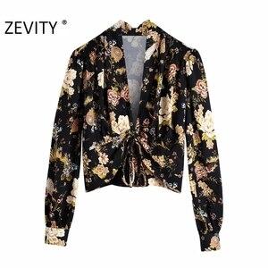 Zevity Women Vintage Deep V Neck Floral Print Pleats Lace Up Smock Blouses Female Side Zipper Kimono Shirt Femininas Tops LS7282