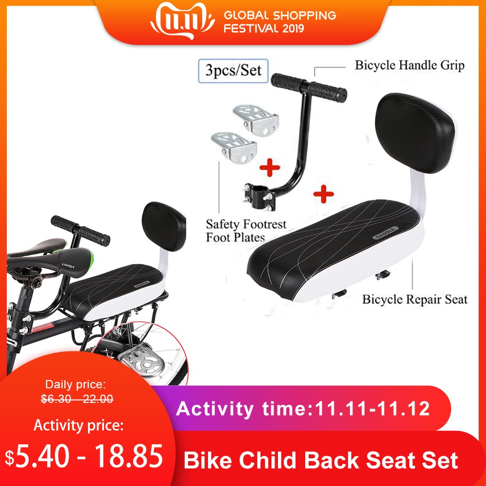 black Folding Bike Child Armrest Handle Rear Seat Safety Armrest Chair Armrest