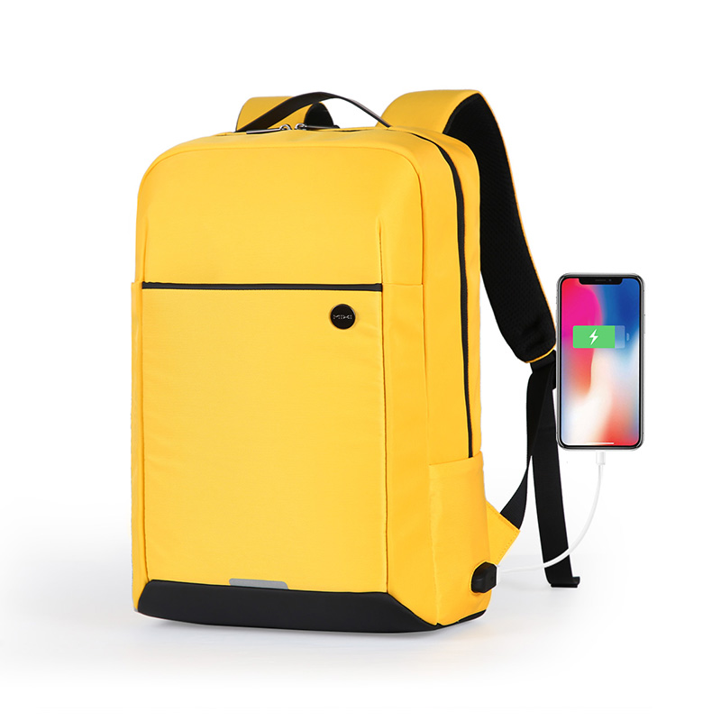 Mixi 2020 New Design Backpack Men Women School Bag 15.6 Laptop Backpack With USB Port Waterproof Breathable Black Yellow M5718