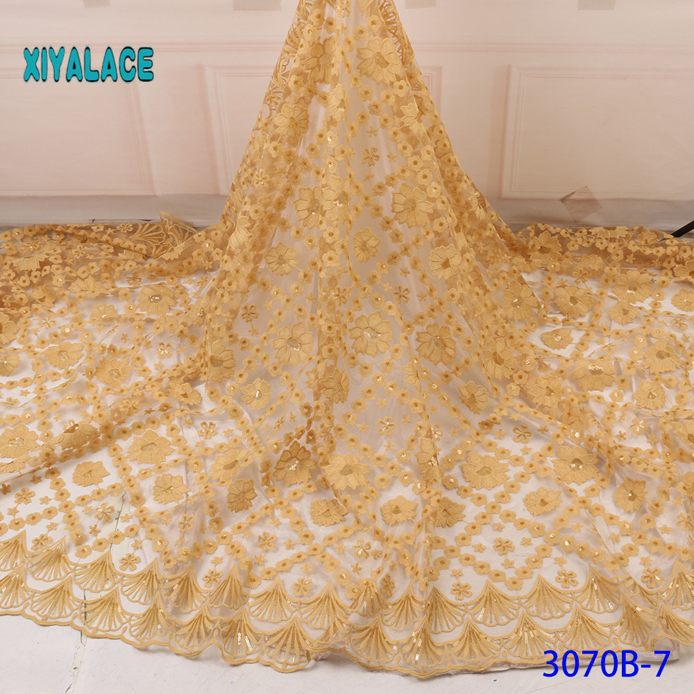 African Lace Fabric Nigerian Lace Fabric Embroidery French 2019 High Quality Beaded Tulle Lace With Sequins For Bridal YA3070B-7
