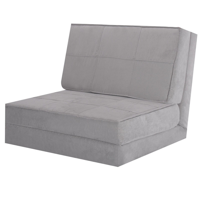 Convertible Lounger Folding Sofa Sleeper Bed Modern Ultra-suede Folding Bed Couch with Folded Pillow Home Bedroom Furniture image
