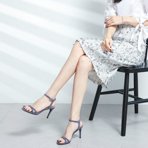 Image 3 - Women High Heels Sandals Shoes Woman 8.5cm Thin Heels Pumps Sandals Ladies Flock Solid Ankle Straps Casual Sexy Wedding Shoes