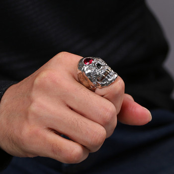 S925 Sterling Silver Jewelry Trend Fashion Open Skull Thai Silver Ring