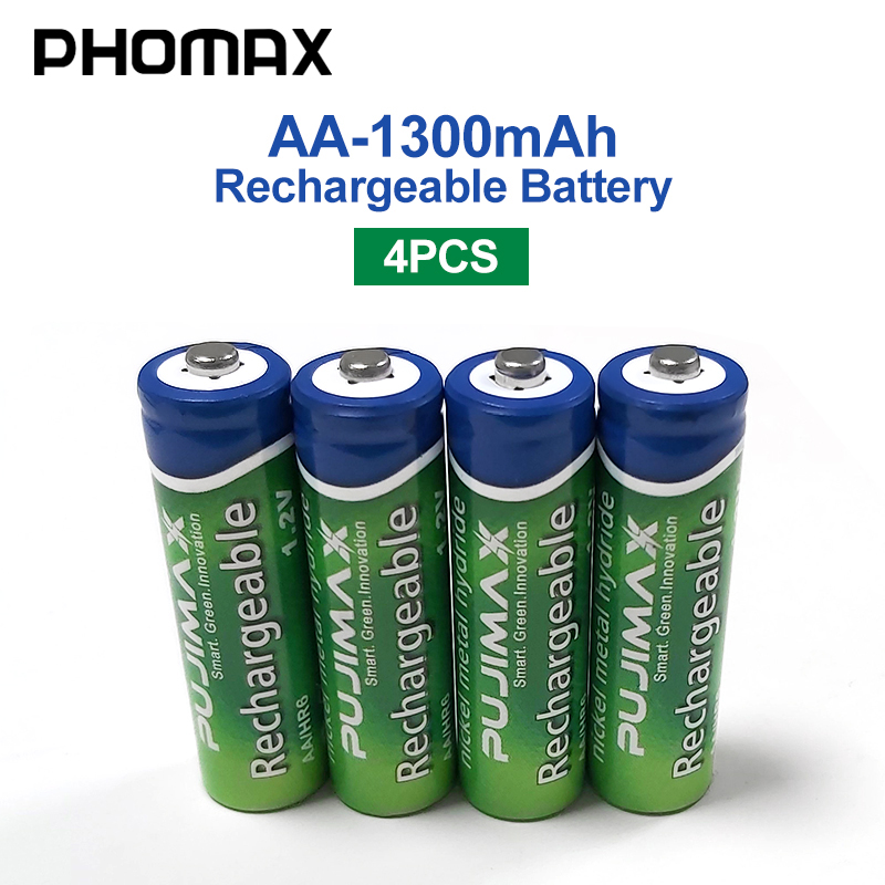PHOMAX 1300mAh 4pcs/batch 1.2V AA Rechargeable Remote Control Battery For Pre-charged NiMH Battery Camera Toy Alarm Clock Mouse
