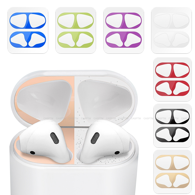 Colorful Protective Sticker Case Skin Dust-proof Dust Guard For Apple Airpods 1 2 Earphones Charging Box Ultra Thin Metal Film