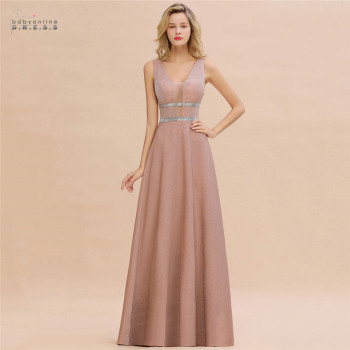 Robe De Soiree Dusty Rose Long Evening Dress 2020 Sexy Deep V-neck Navy Blue Evening Prom Gowns Vestido de Festa 1