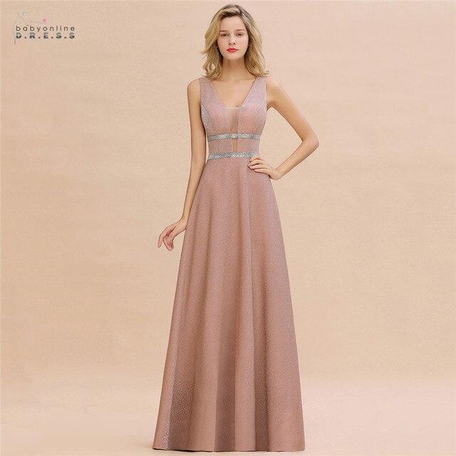 Robe De Soiree Dusty Rose Long Evening Dress 2020 Sexy Deep V-neck Navy Blue Evening Prom Gowns Vestido de Festa 1