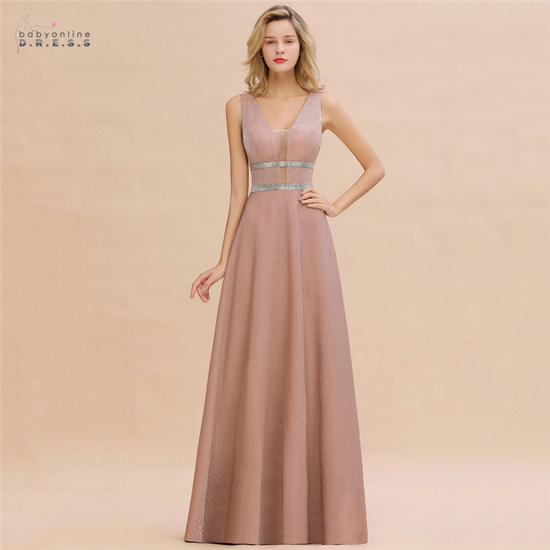 Robe De Soiree Dusty Rose Long Evening Dress 2020 Sexy Deep V-neck Navy Blue Evening Prom Gowns Vestido De Festa