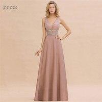 Robe De Soiree Dusty Rose Long Evening Dress 2020 Sexy Deep V neck Navy Blue Evening Prom Gowns Vestido de Festa