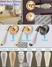Europpean złoty brąz kość słoniowa wpuszczany drzwi do sypialni wieniec rozeta zestaw z zamkiem Lockset porcelana ceramiczna uchwyt szczelina kwiatowy tanie tanio Premintehdw POWLEKANE ELEKTROLITYCZNIE Blokada mechaniczna Drzwi wewnętrzne Porcelany Dźwignia Zamki 35-50mm Regular