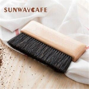 1 шт., кофейная щетка, кофемолка, чистящая щетка для машины, деревянная ручка, натуральная щетина, древесина, пыль, кисть для эспрессо