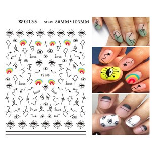 Image 4 - 1 Pcs Abstract Line Pattern Eye Design 3D Nail Sticker Nail Slider Art DIY Decorations Sticker for Manicure DIY Adhesive Tips