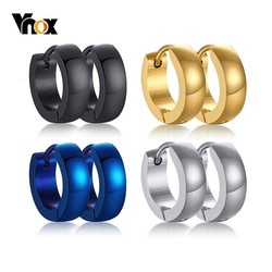 Vnox Men Unisex Stainless Steel Small Hoop Huggie Earrings Ear Accessory