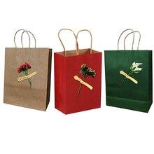 4 Uds bolsa portátil de Navidad bolsas de regalo de papel Kraft embalaje de dulces de boda reciclable joyería comida pan fiesta Vintage impresión
