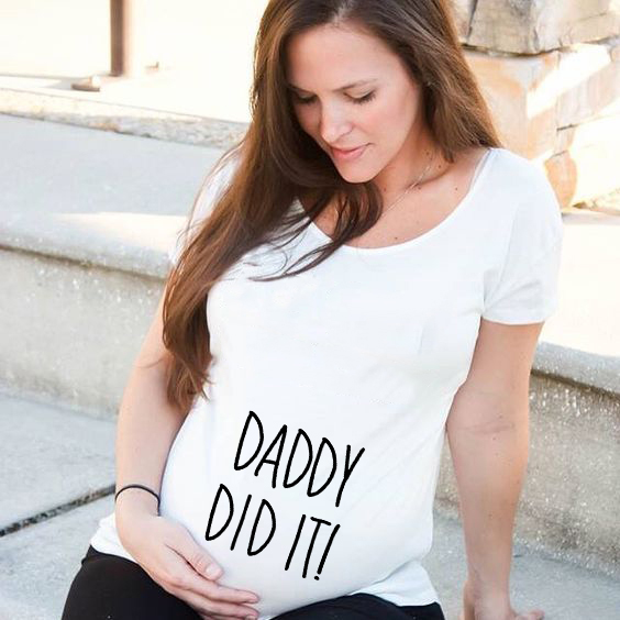 Daddy Did It Pregnant Woman Cute Clothes Maternity T Shirt Funny Pregnancy Tee Mothers Casual Tops Mothers Tops Shirts
