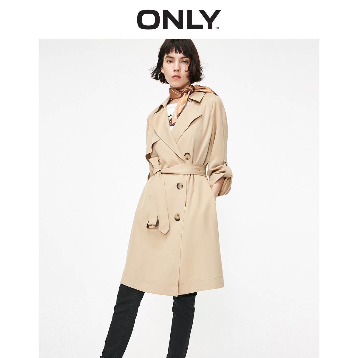 ONLY Women's Loose Fit Cinched Waist Mid-length Trench Coat | 119136532