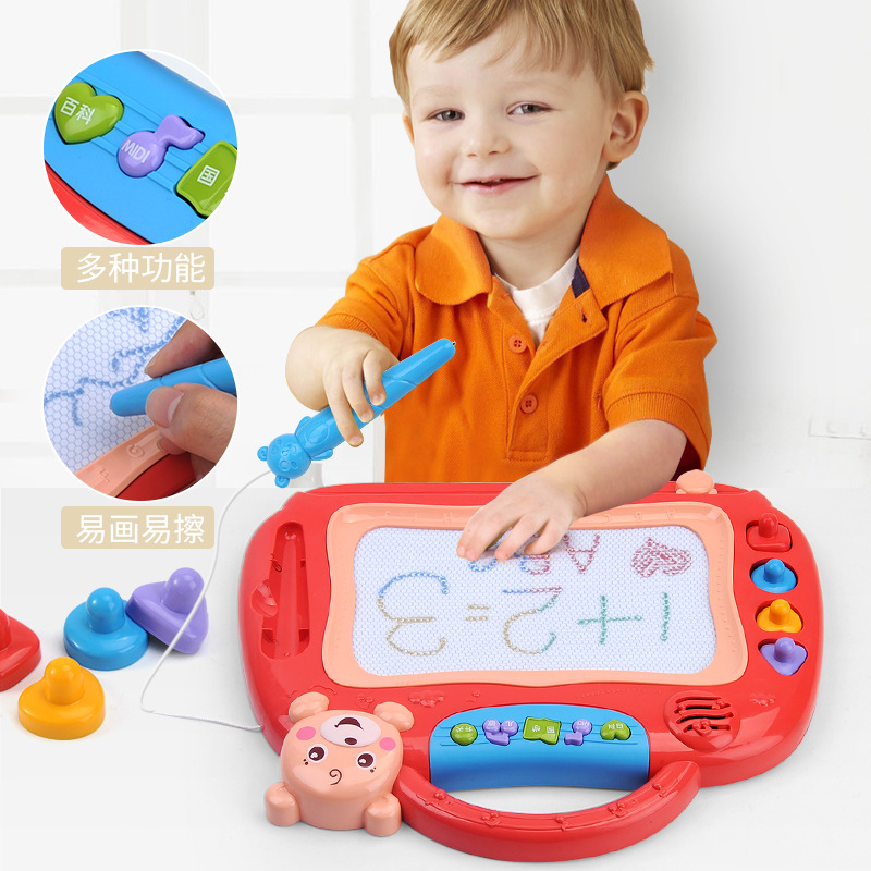 Children Magnetic Graffiti Holder Sketchpad Color Handwriting Board Not Dirty Hands-Repeated Use 1-2-3-5 Years Old Baby