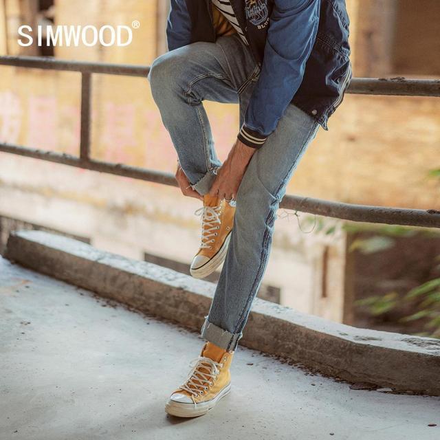 Calças de brim SIMWOOD homens moda Raw borda lateral listrado moda denim calças plus size 2019 outono inverno novas calças 190403