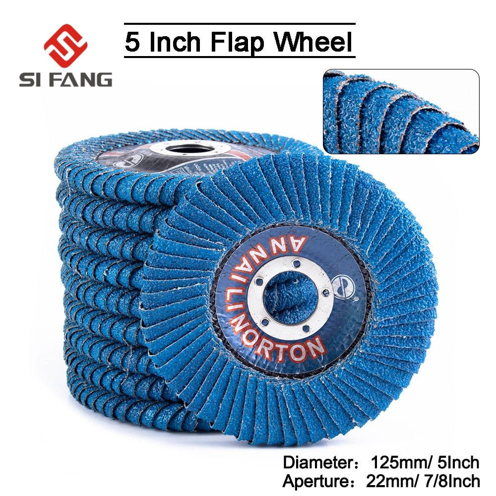 2-15Pcs 5inch Abrasive Flap Disc  Radial Shape Grinding Wheel  Round Hole  Phenolic Resin Backing Zirconia Alumina Grit 60