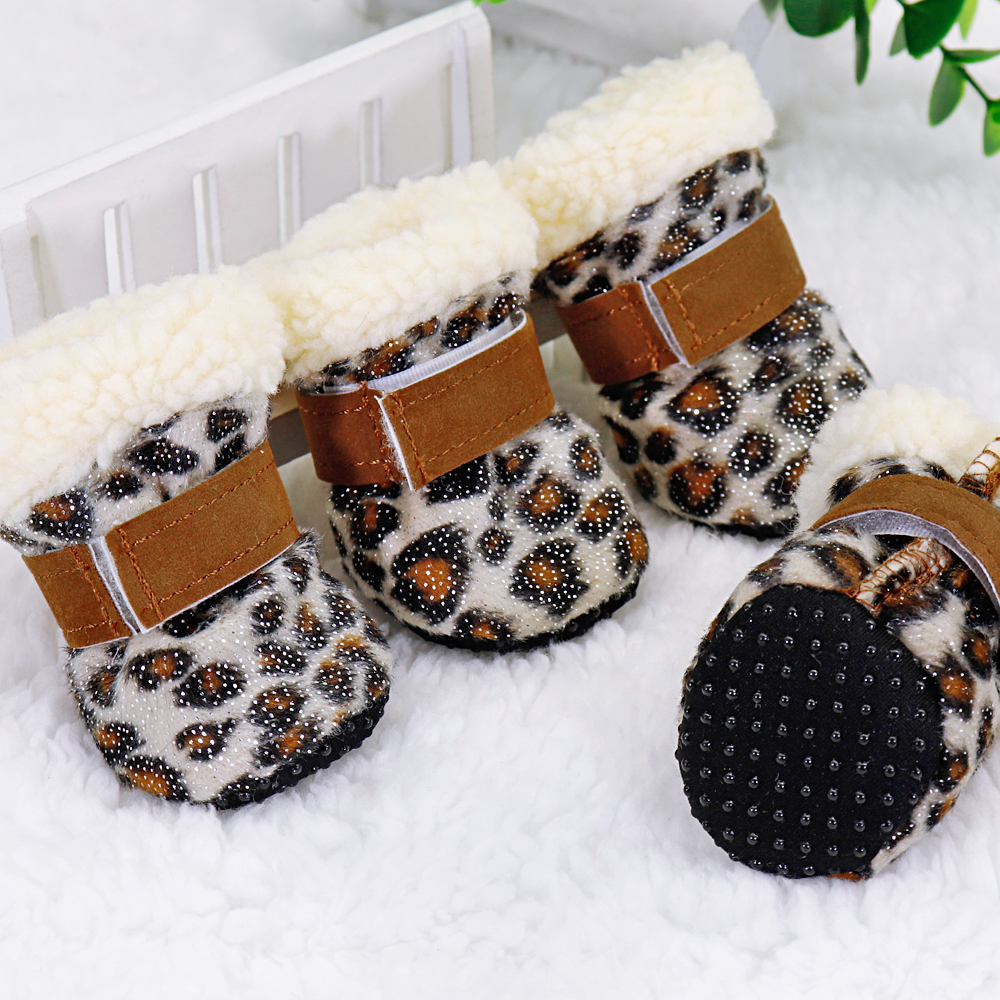 4pcs Winter Dog Pet <font><b>Shoes</b></font> Anti-slip Snow Boots for Small Dogs Thick Cat Puppy <font><b>Shoes</b></font> Socks Pet Boots for Chihuahua Yorkshire image