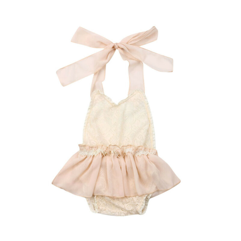 Newborn Clohtes Baby Girl Lace   Romper   Dress Lace Ruffles Halter Jumpsuit Outfits Clothes Summrt Backless One-Pieces   Rompers