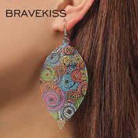 Bravekiss forma de folha do vintage brincos de gota para mulher boho oco-para fora da moda jóias na moda coreano brinco 2019 novo bpe1401