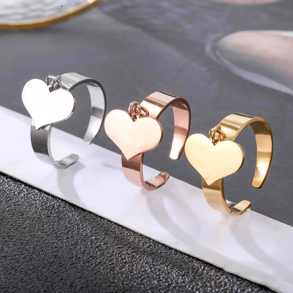Double Heart Stainless Steel Rings for Women Gold Silvery Wedding Engagement Charm Female Rings 2021 Trend Jewellery Party Gifts