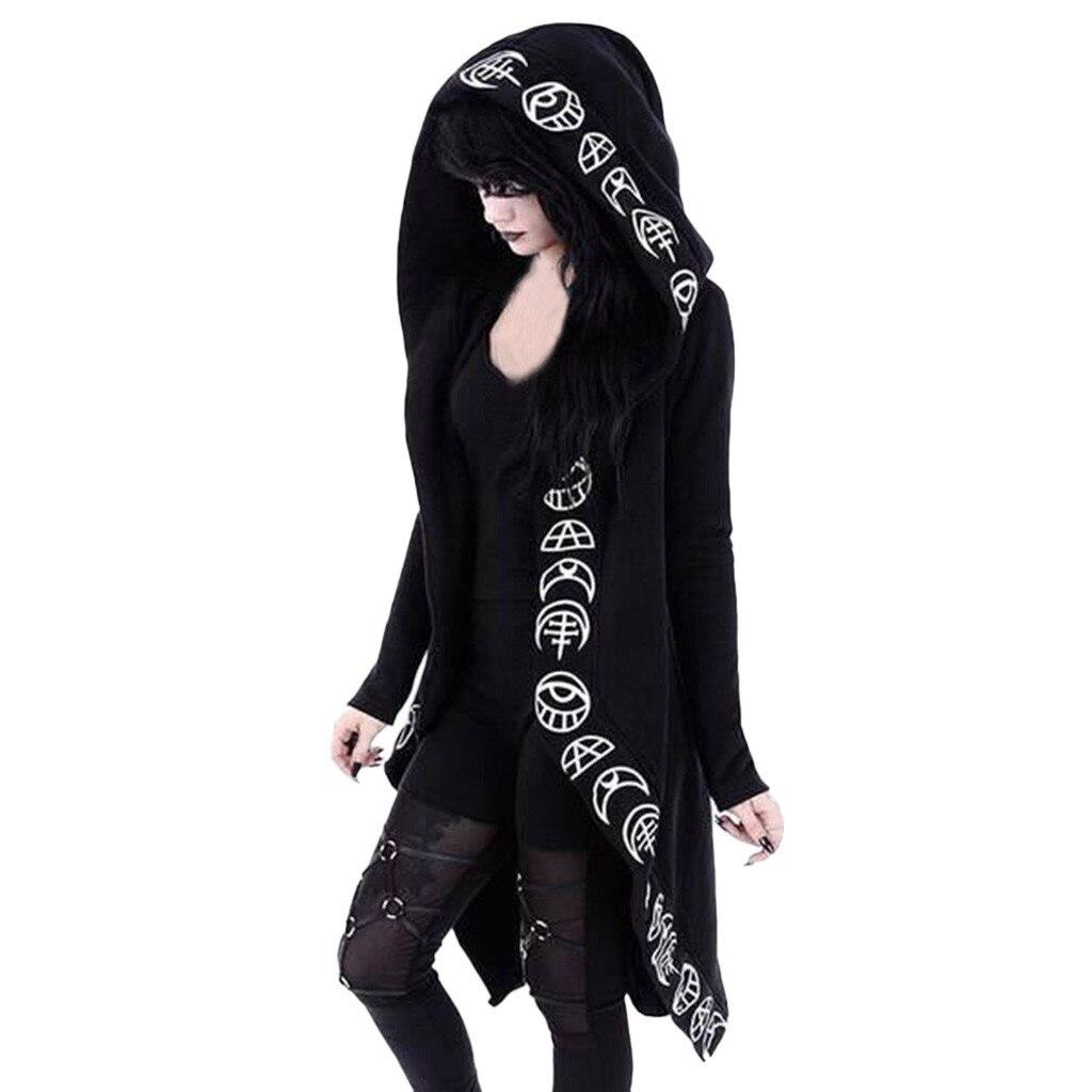 Women Long Sleeve Jacke Gothic Punk Moon Print Hooded Coat Black Cardigan Jacket Coat Plus Size Outerwear Overcoat Autumn Winter