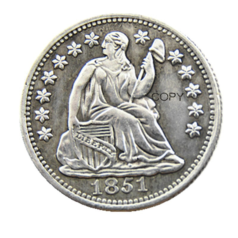 USA 1851P/O Liberty Seated Half Dime Stars on Obverse Copy Coins