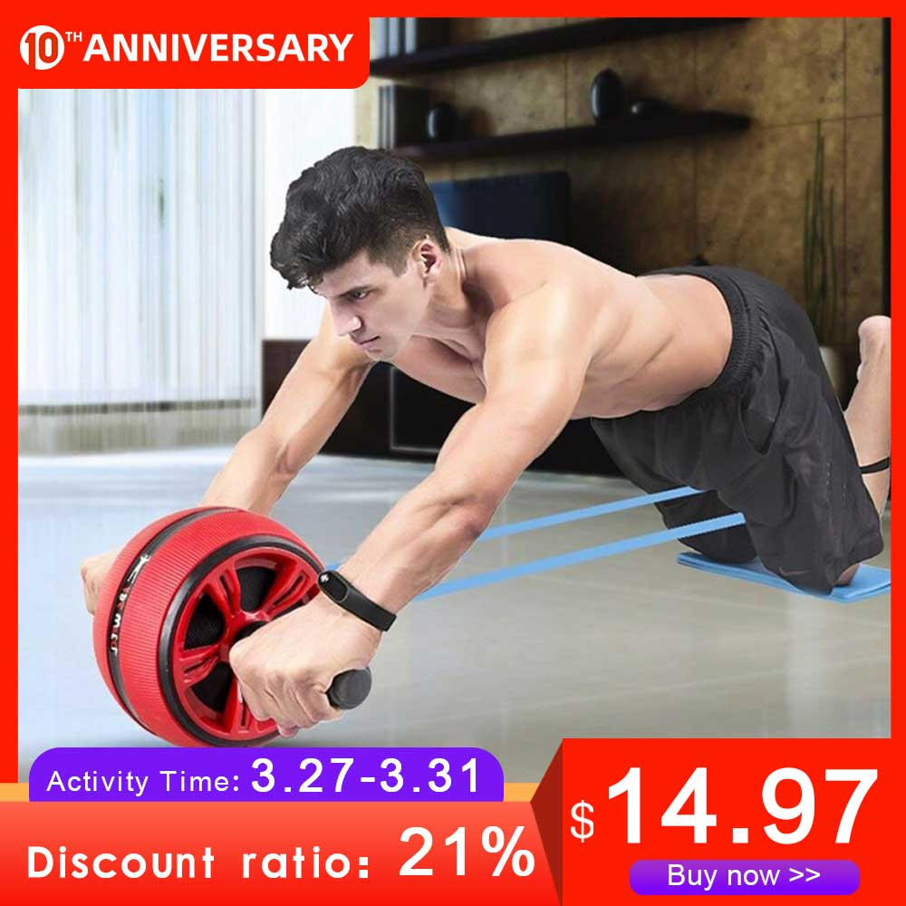 DMAR Silent TPR Abdominal Wheel Roller Trainer Fitness Equipment Gym Home Exercise Body Building Ab Roller Belly Core Trainer