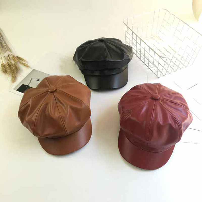 Casual Women Leather Newsboy Cap Black PU Leather Female Korean Octagonal Cap Spring Winter Beret Ladies Flat Hat