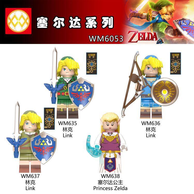 Single Action Figures Cartoon Link Game Zelda Shield Sword Archer Model Building Blocks Bricks Toys For Children Gifts